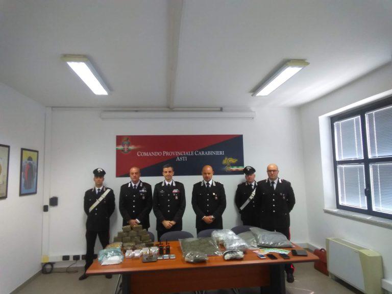 I carabinieri di Asti e Nizza Monferrato sequestrano 25 kg di stupefacente
