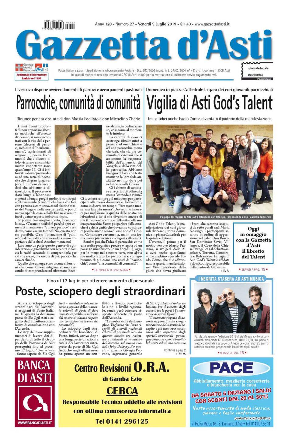 Prima pagina – 5 luglio 2019