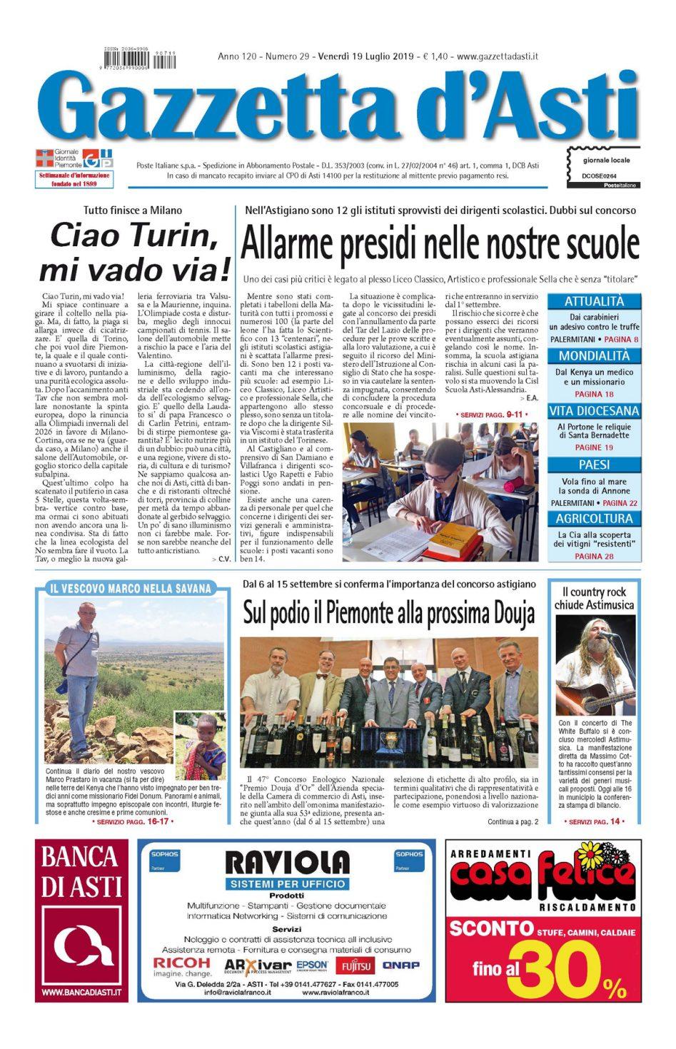 Prima pagina – 19 luglio 2019