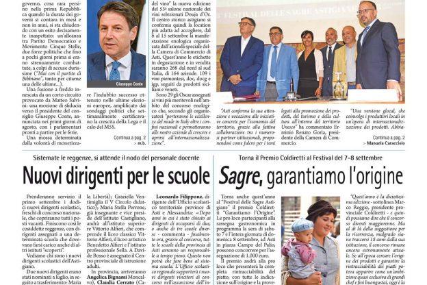 Prima pagina – 30 agosto 2019