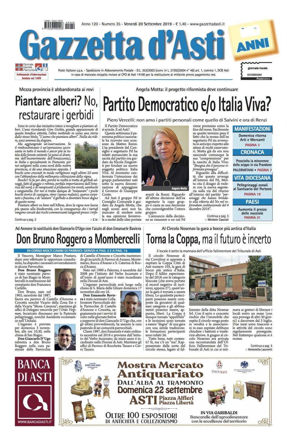 Prima pagina – 20 settembre 2019
