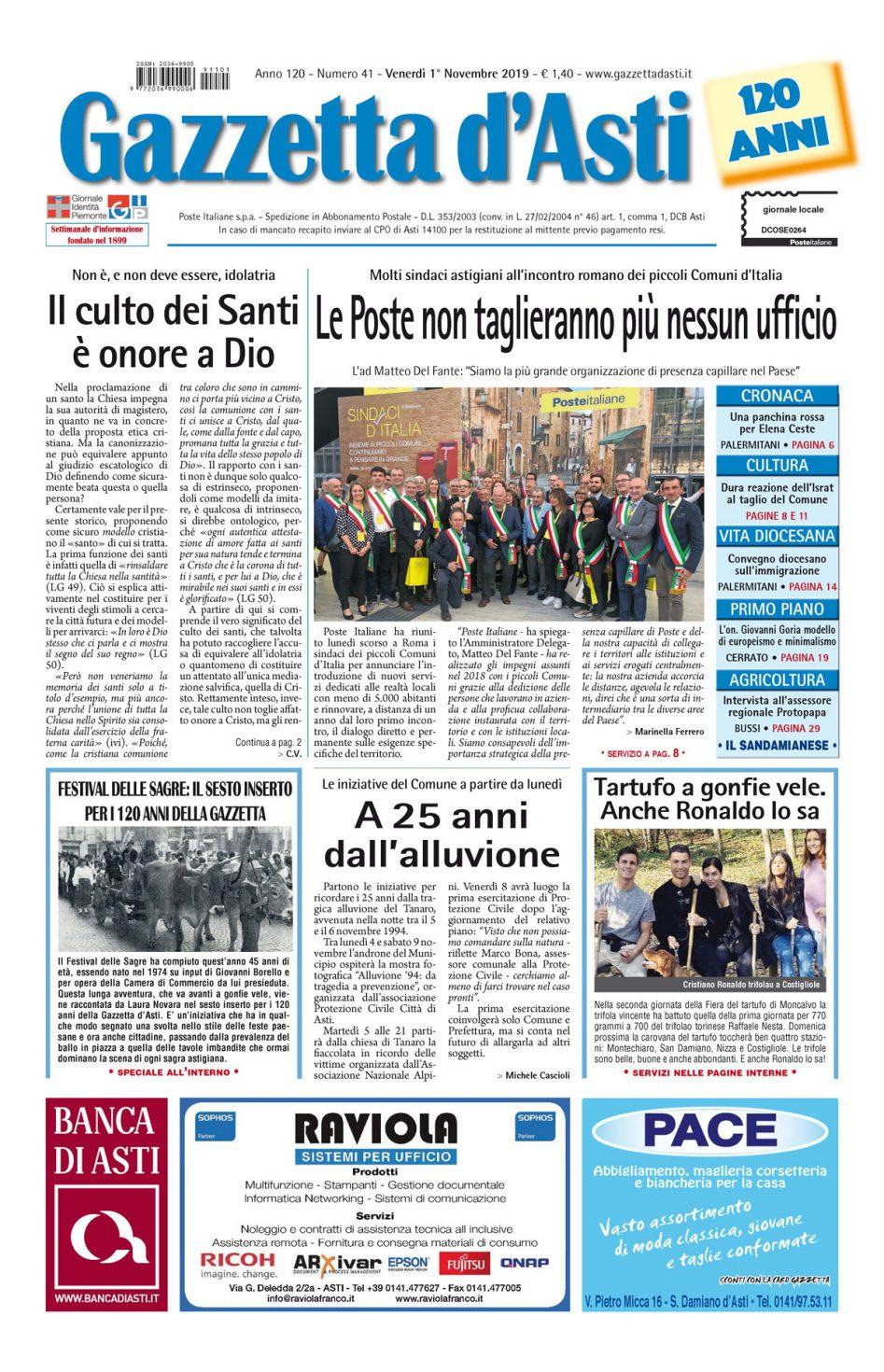 Prima pagina – 1 novembre 2019