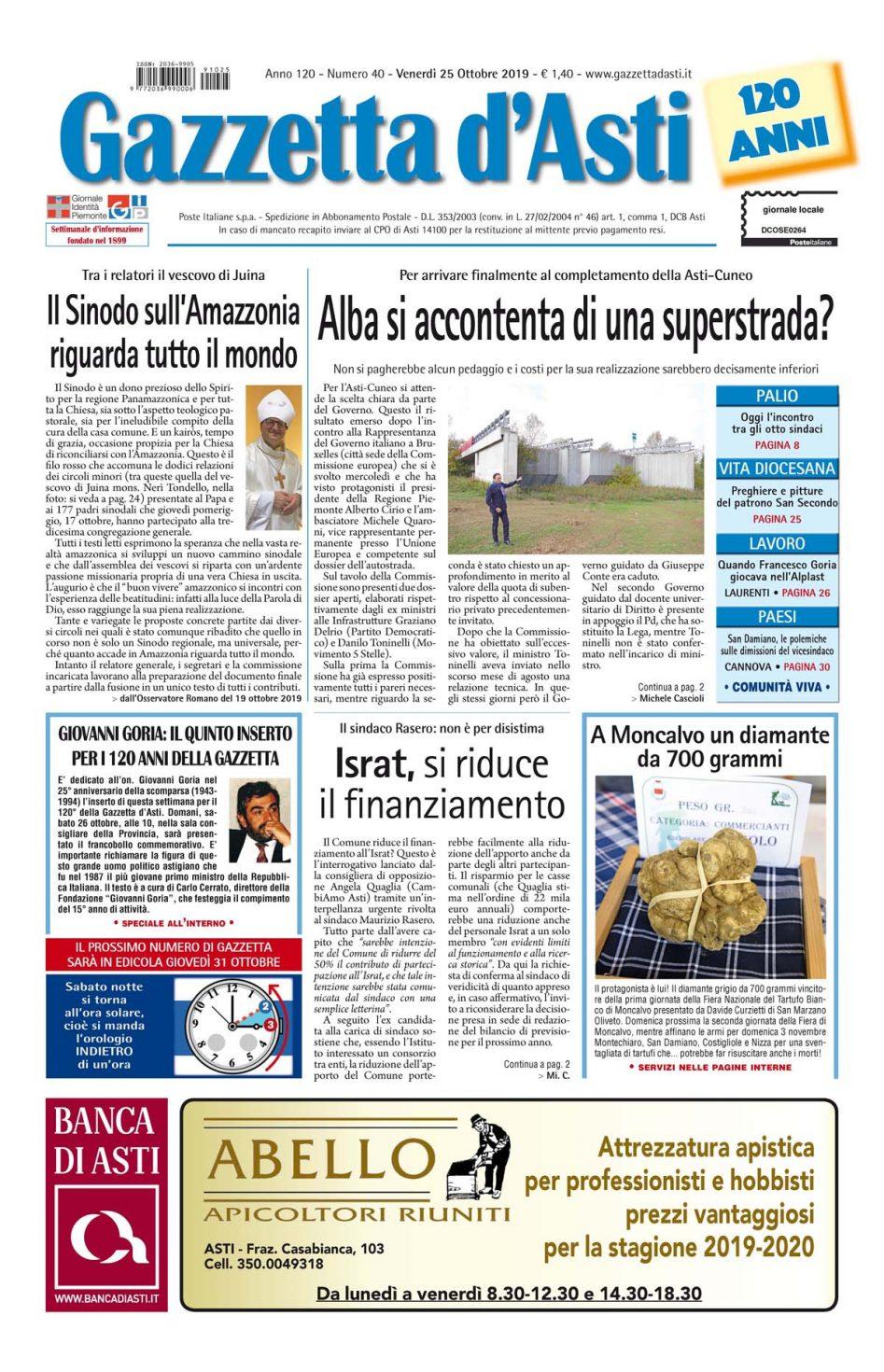 Prima pagina – 25 ottobre 2019