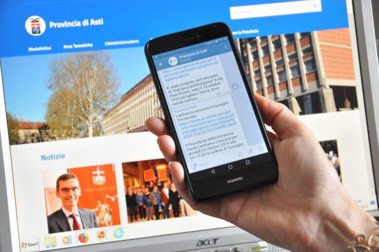 La Provincia di Asti sempre più digital:  al via il canale su Telegram