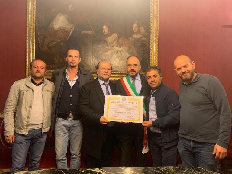Asti, il primo comune con l'attestato della Universal Peace Federation