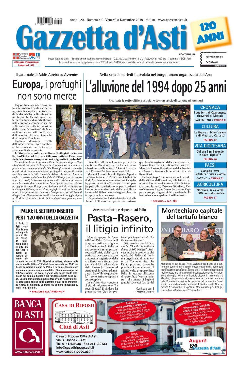 Prima pagina – 8 novembre 2019