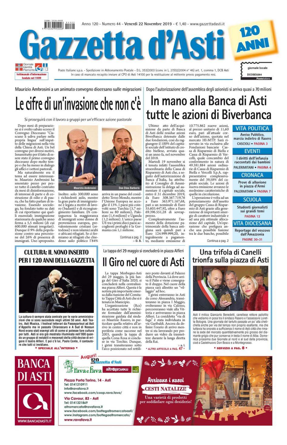 Prima pagina – 22 novembre 2019