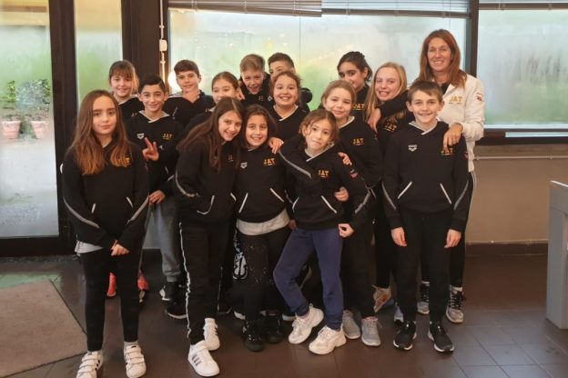 Gli atleti dello Junior Pentathlon Asti al frofeo Nuotatori Rivarolesi