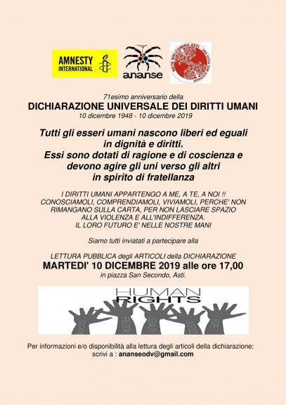 Asti: lettura pubblica della Dichiarazione Universale dei Diritti Umani in piazza San Secondo