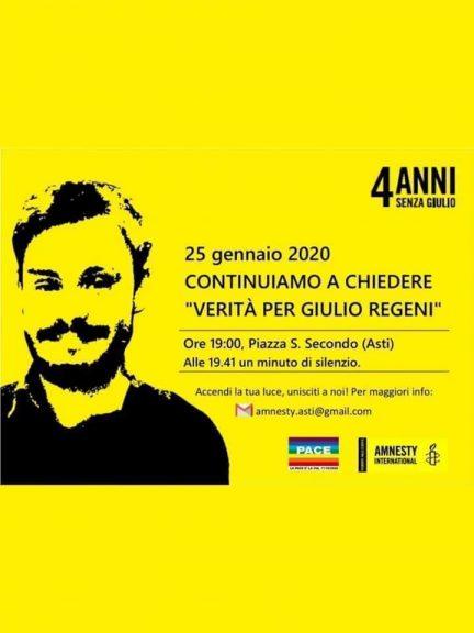 Quattro anni senza Giulio: in memoria di Regeni incontro di Amnesty ad Asti