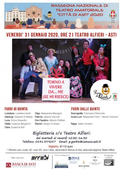 """Asti, i Fuori di Quinta all'Alfieri: """"Torno a vivere da me… (se mi riesce)"""""""
