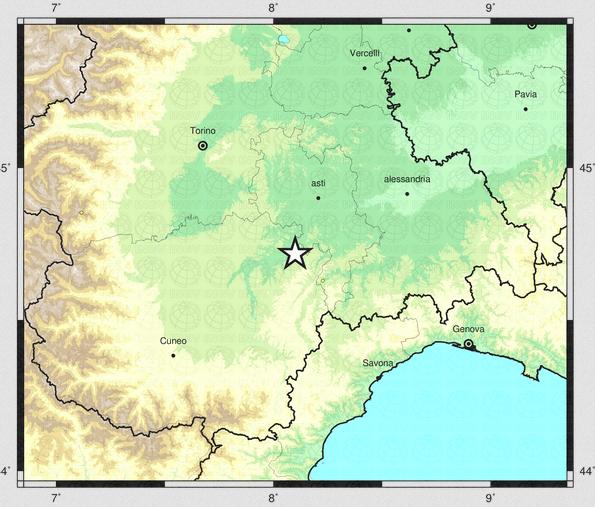 Scossa di terremoto di magnitudo 3.1 avvertita anche ad Asti