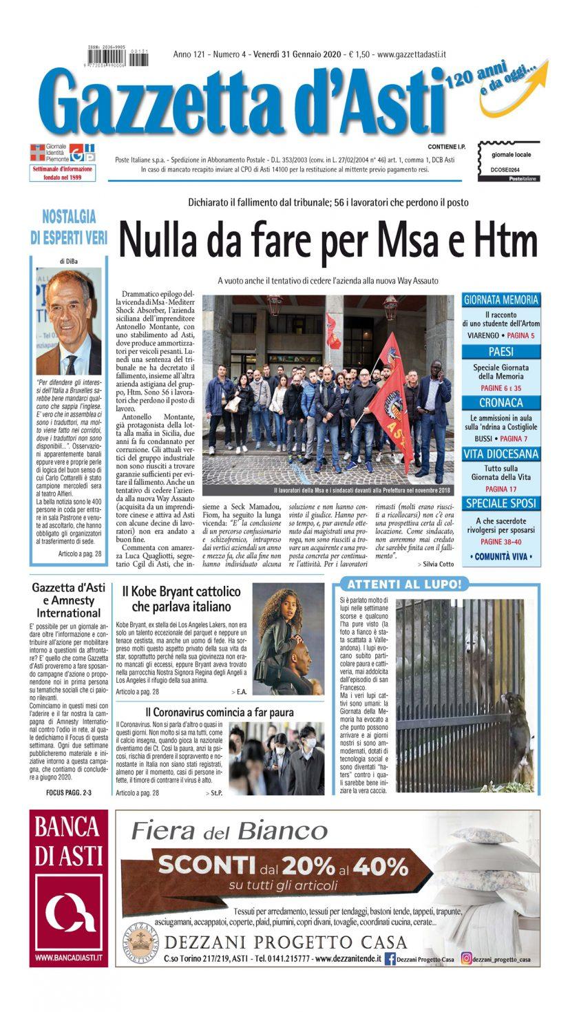 Prima pagina – 31 gennaio 2020