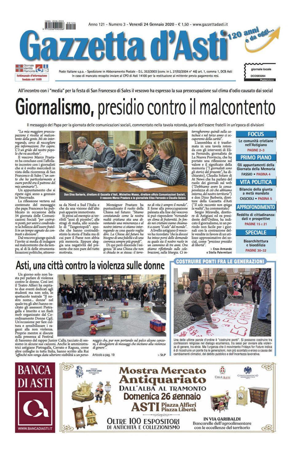Prima pagina – 24 gennaio 2020