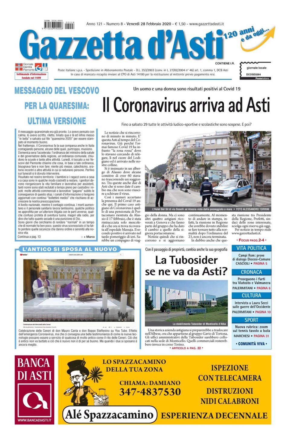 Prima pagina – 28 febbraio 2020