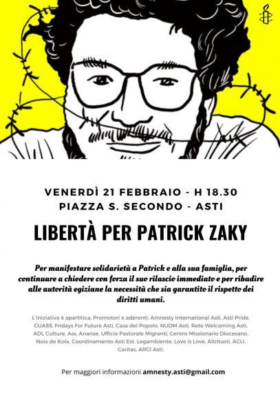 Libertà per Patrick Zaky: manifestazione ad Asti