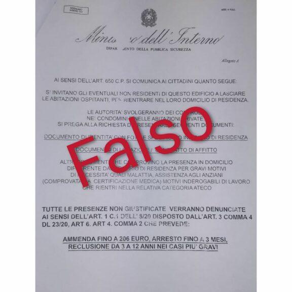 Falso volantino del Ministero dell'Interno