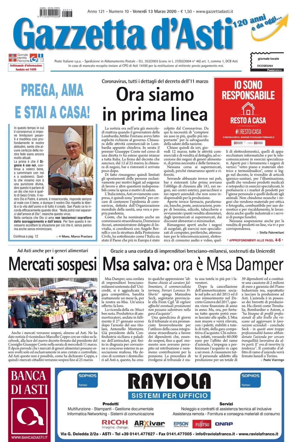 Prima pagina – venerdì 13 marzo 2020