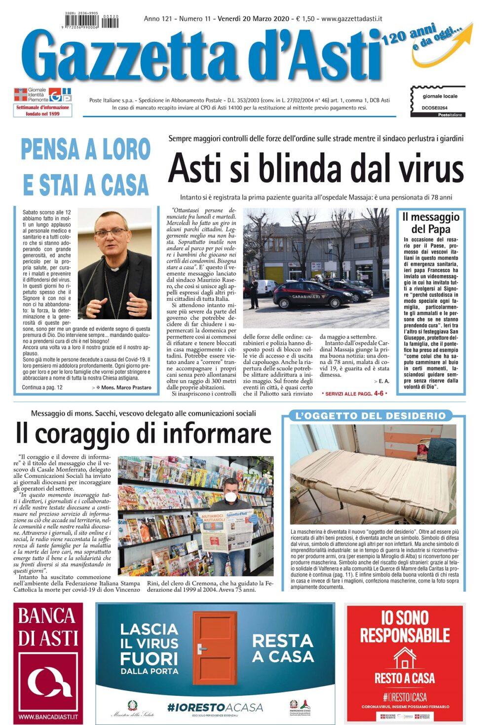 Prima pagina – 20 marzo 2020