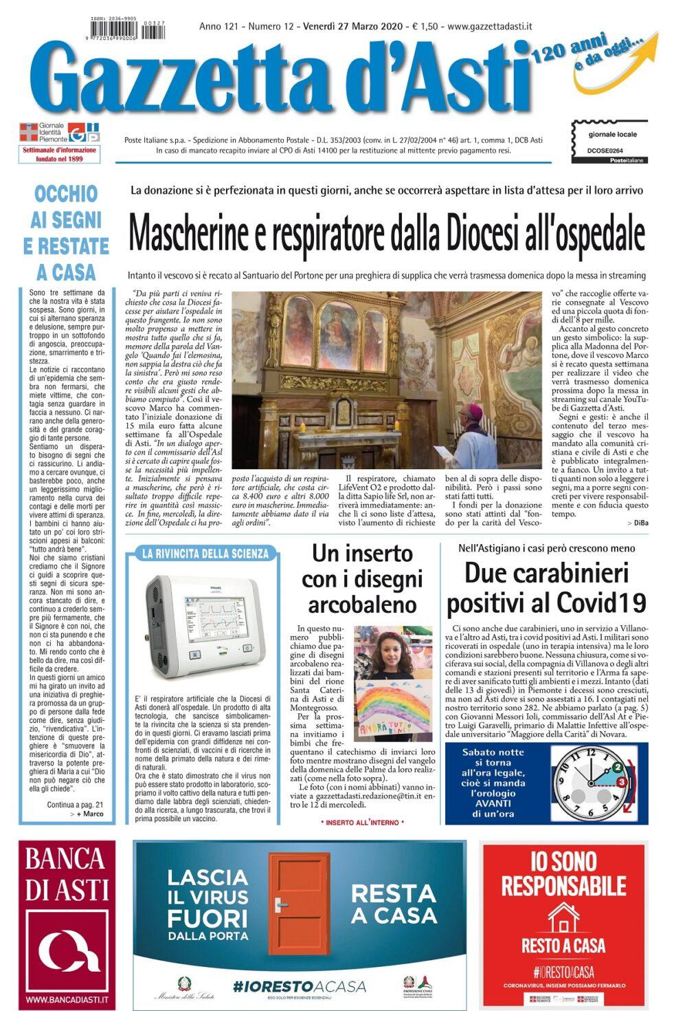 Prima pagina – 27 marzo 2020