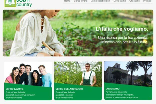 """Coldiretti attiva la piattaforma on line """"Job in Country"""""""
