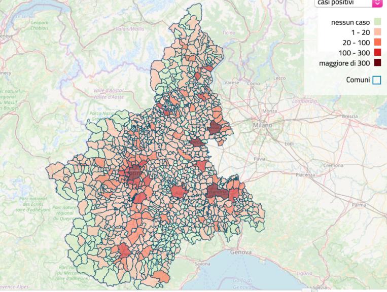 La mappa dei contagi sul sito della Regione