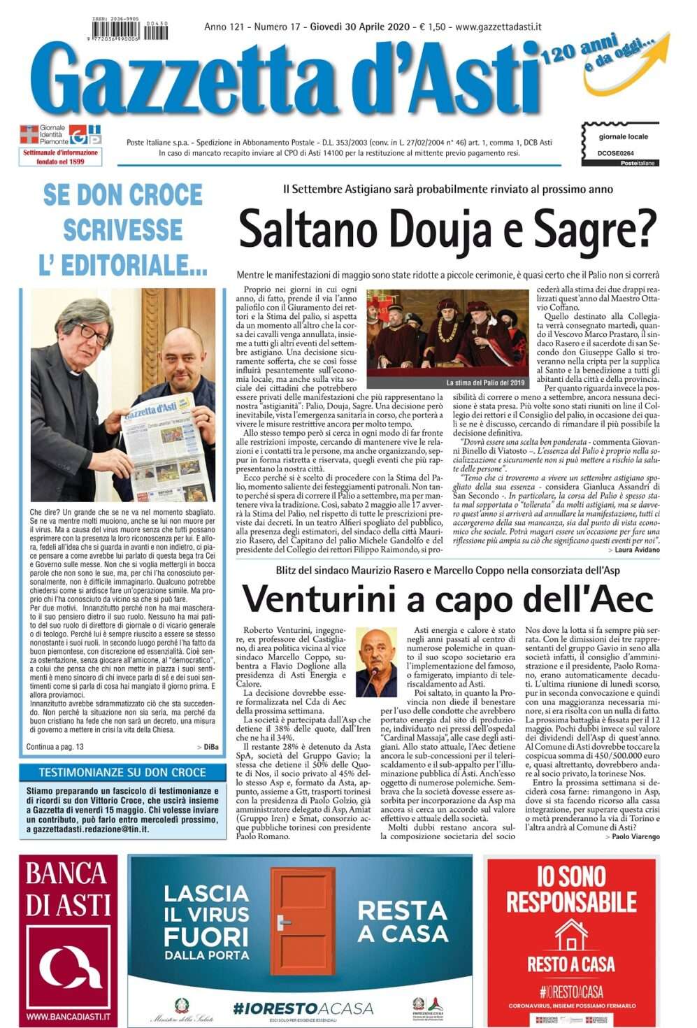 Prima pagina – 30 aprile 2020