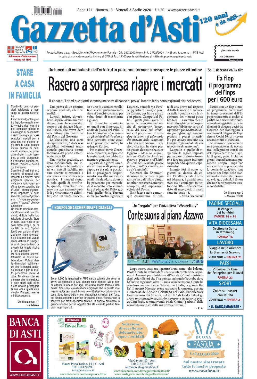 Prima pagina – 3  aprile 2020