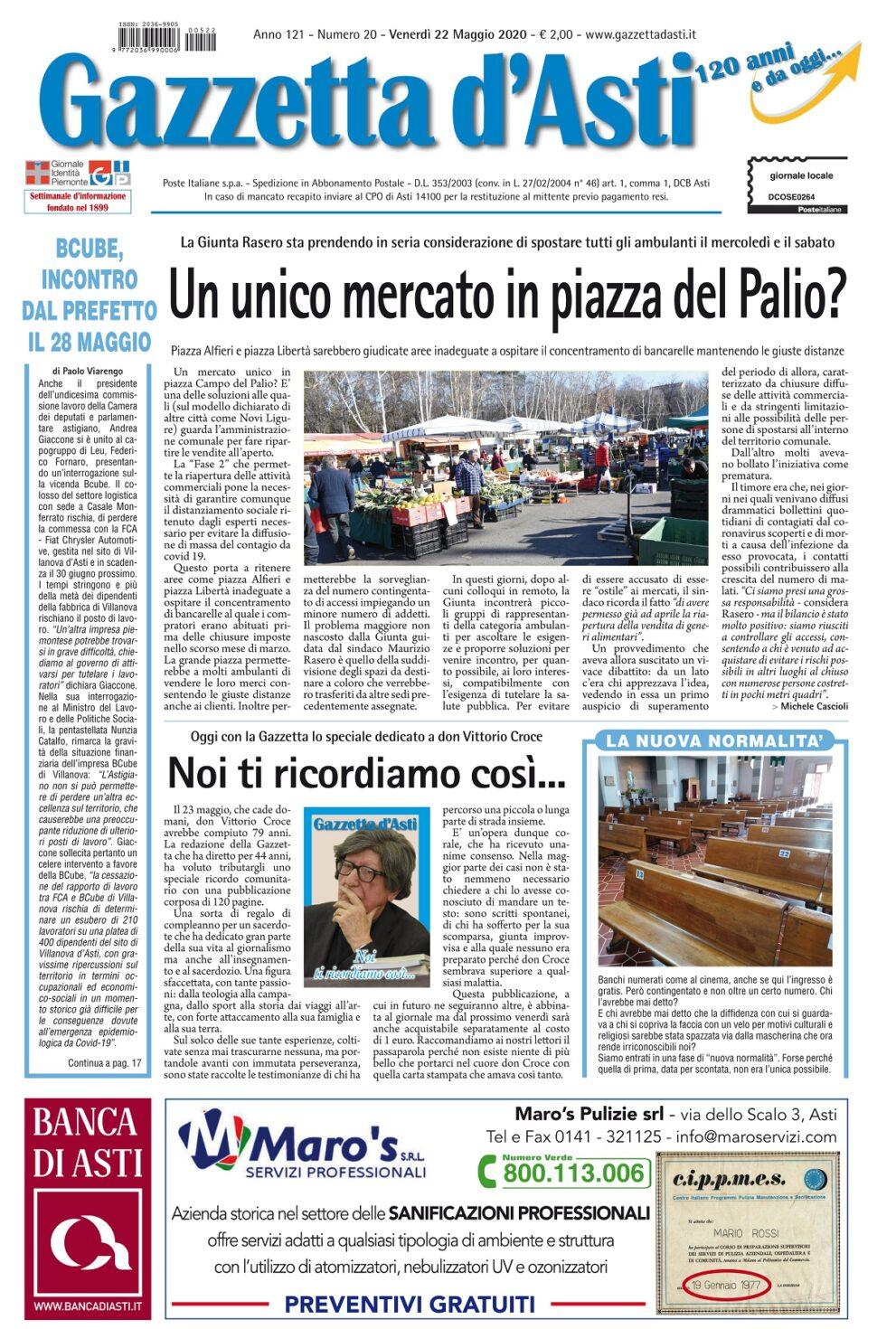 Prima pagina – 22 maggio 2020