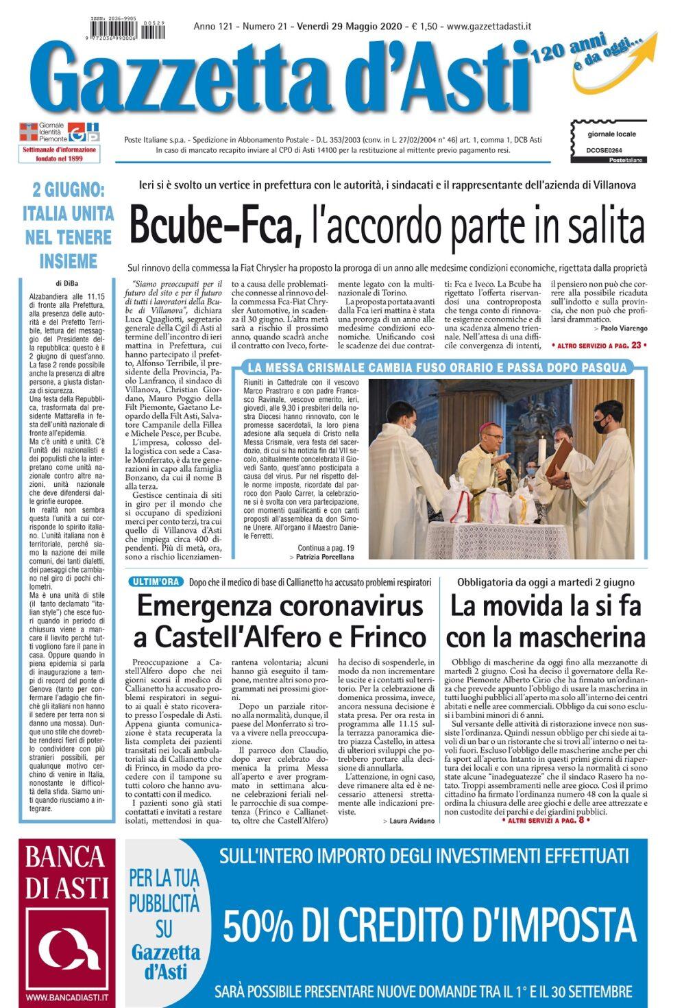 Prima pagina – 29 maggio 2020