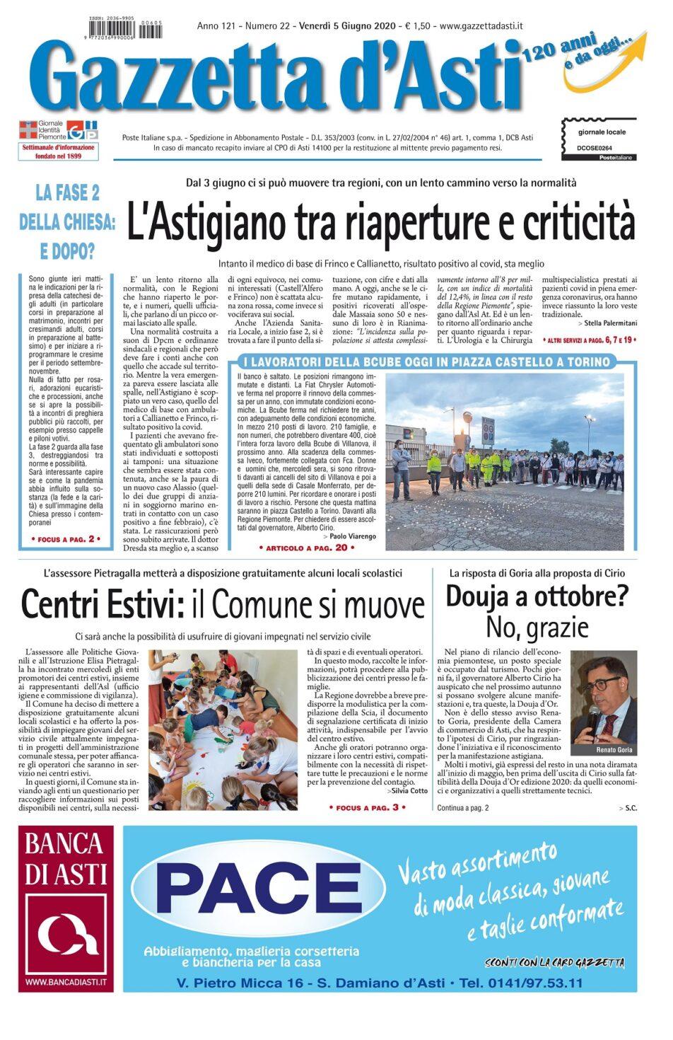 Prima pagina – 5 giugno 2020