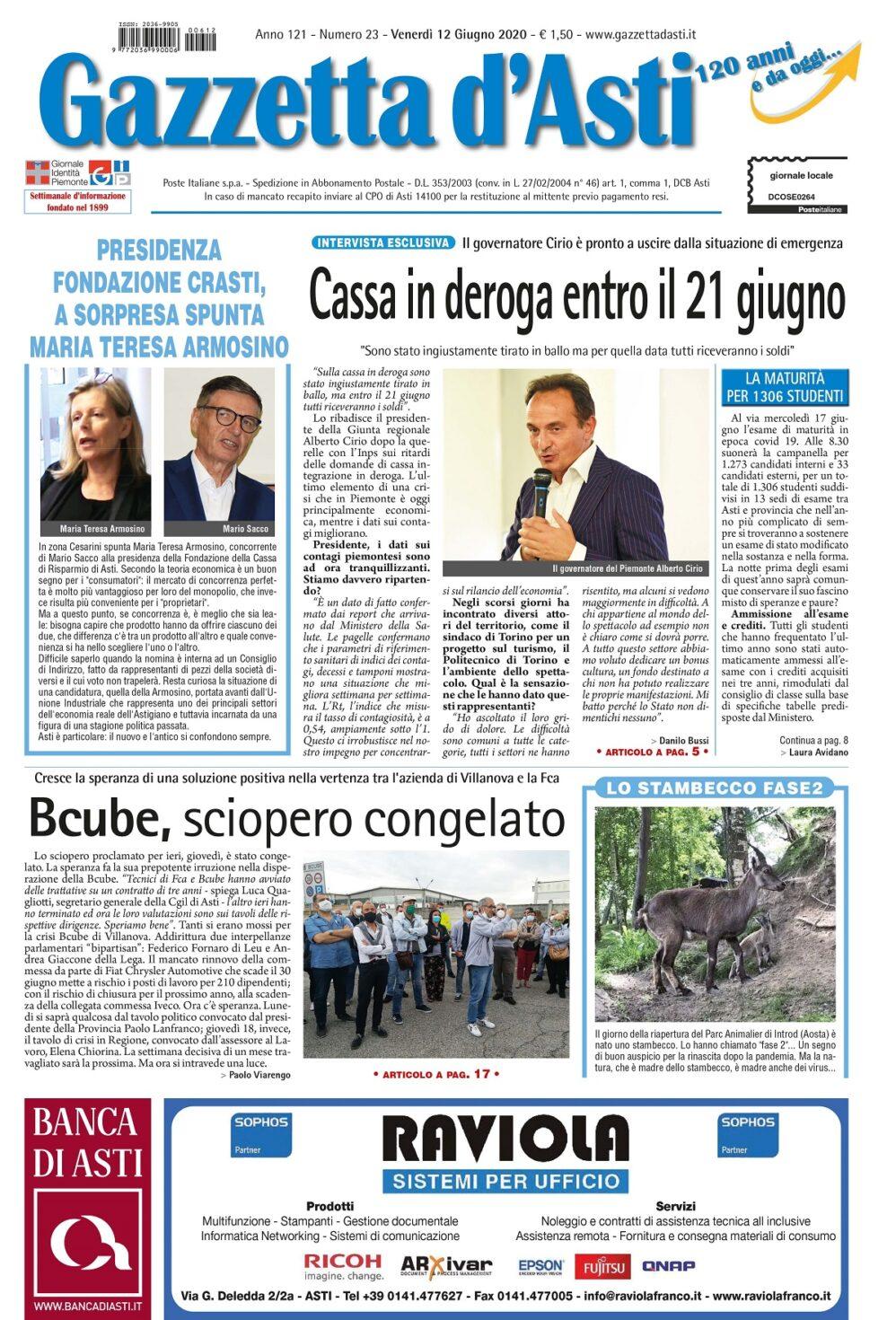 Prima pagina – 12 giugno 2020