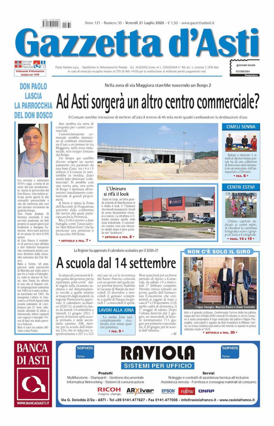 Prima pagina – 31 luglio 2020