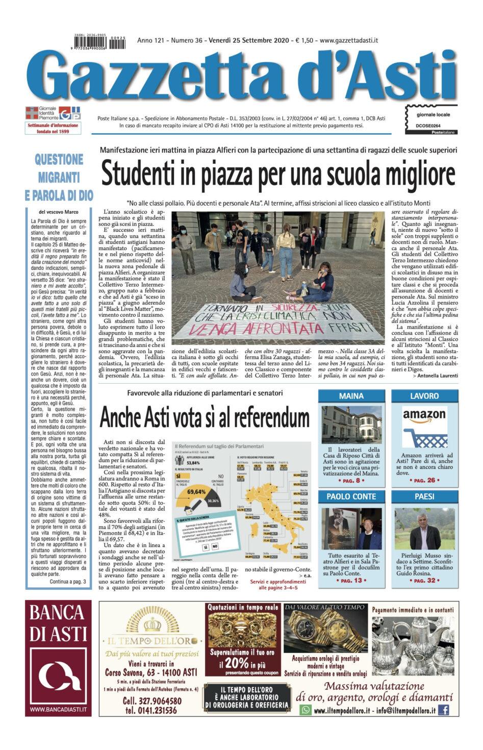 Prima pagina – 25 settembre 2020