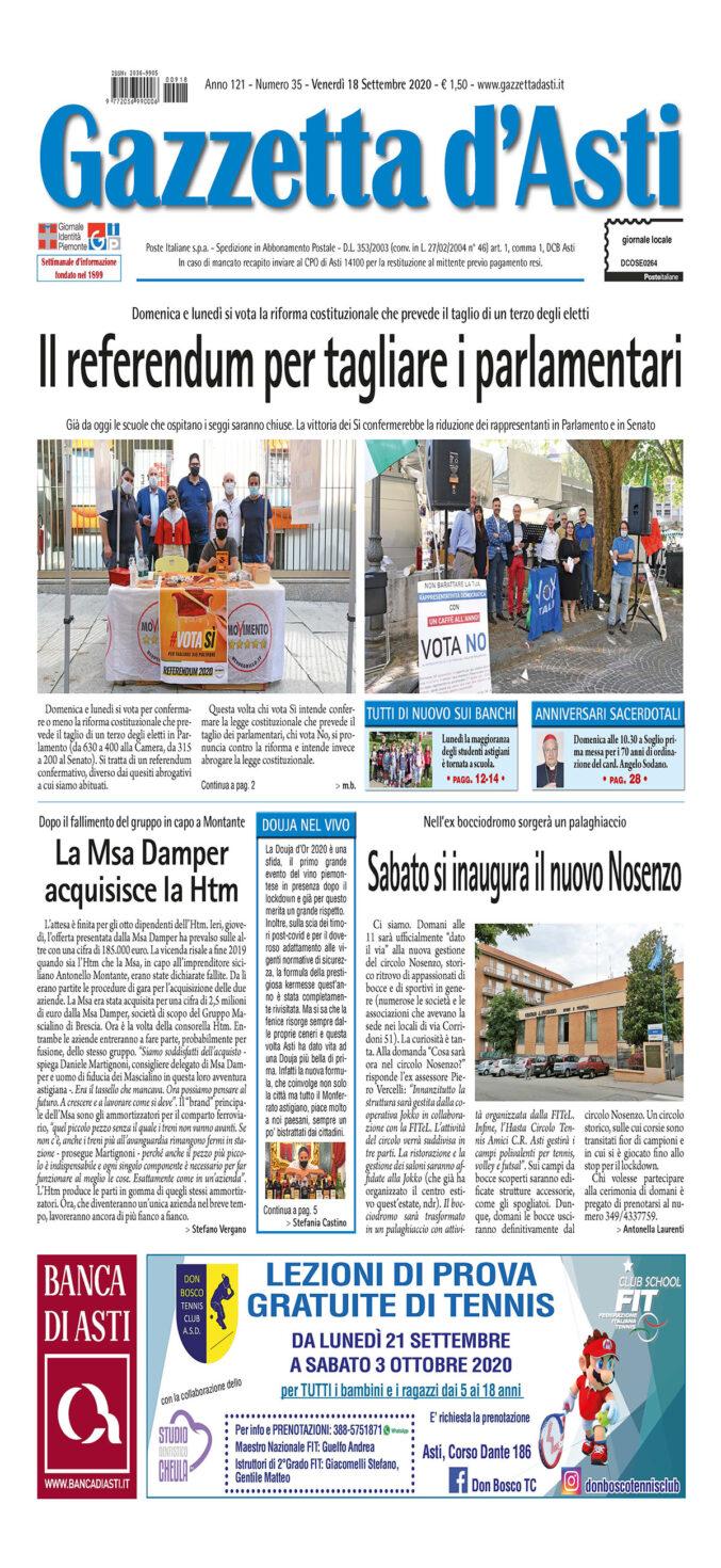 Prima pagina – 18 settembre 2020