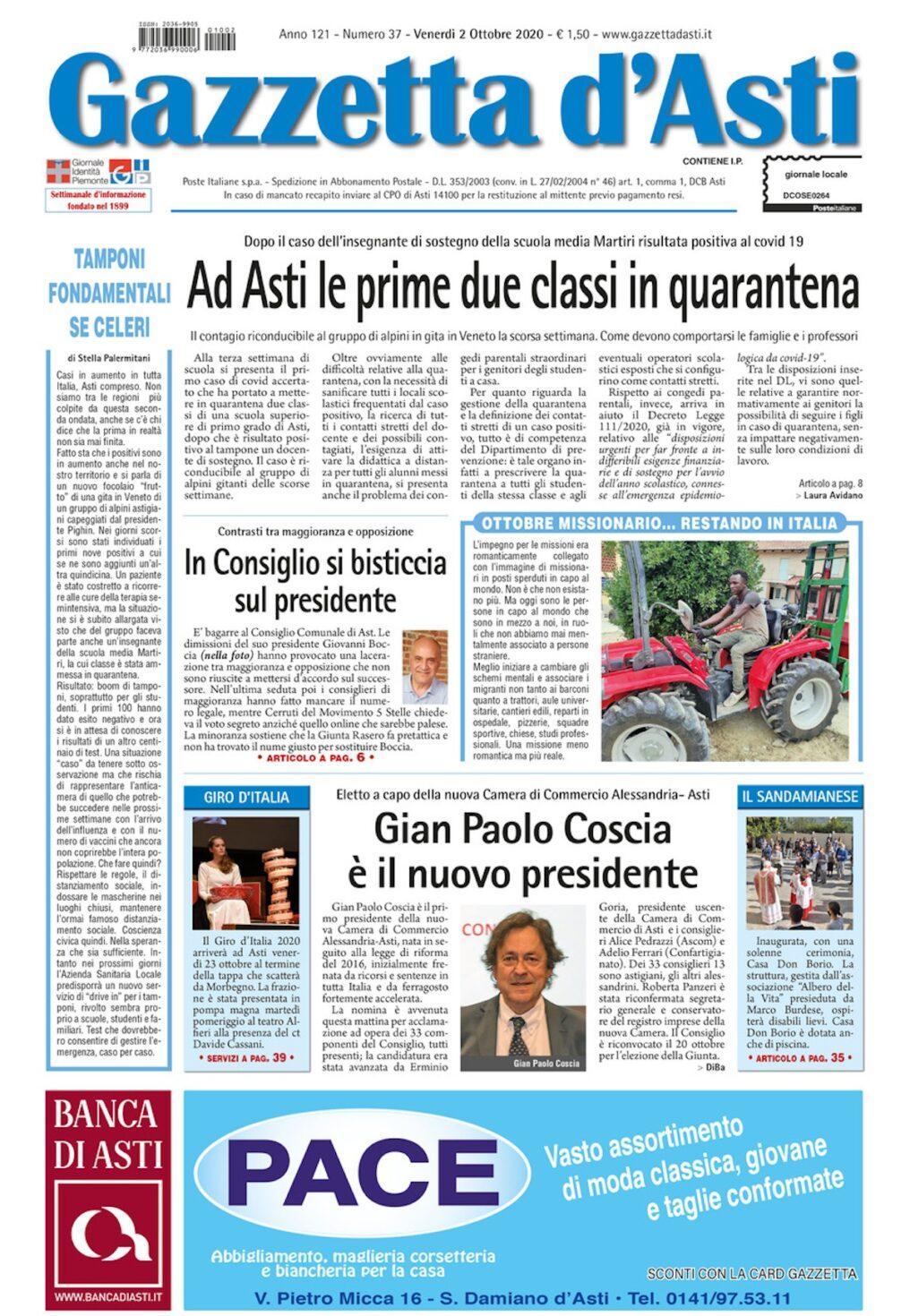 Prima pagina – 2 ottobre 2020
