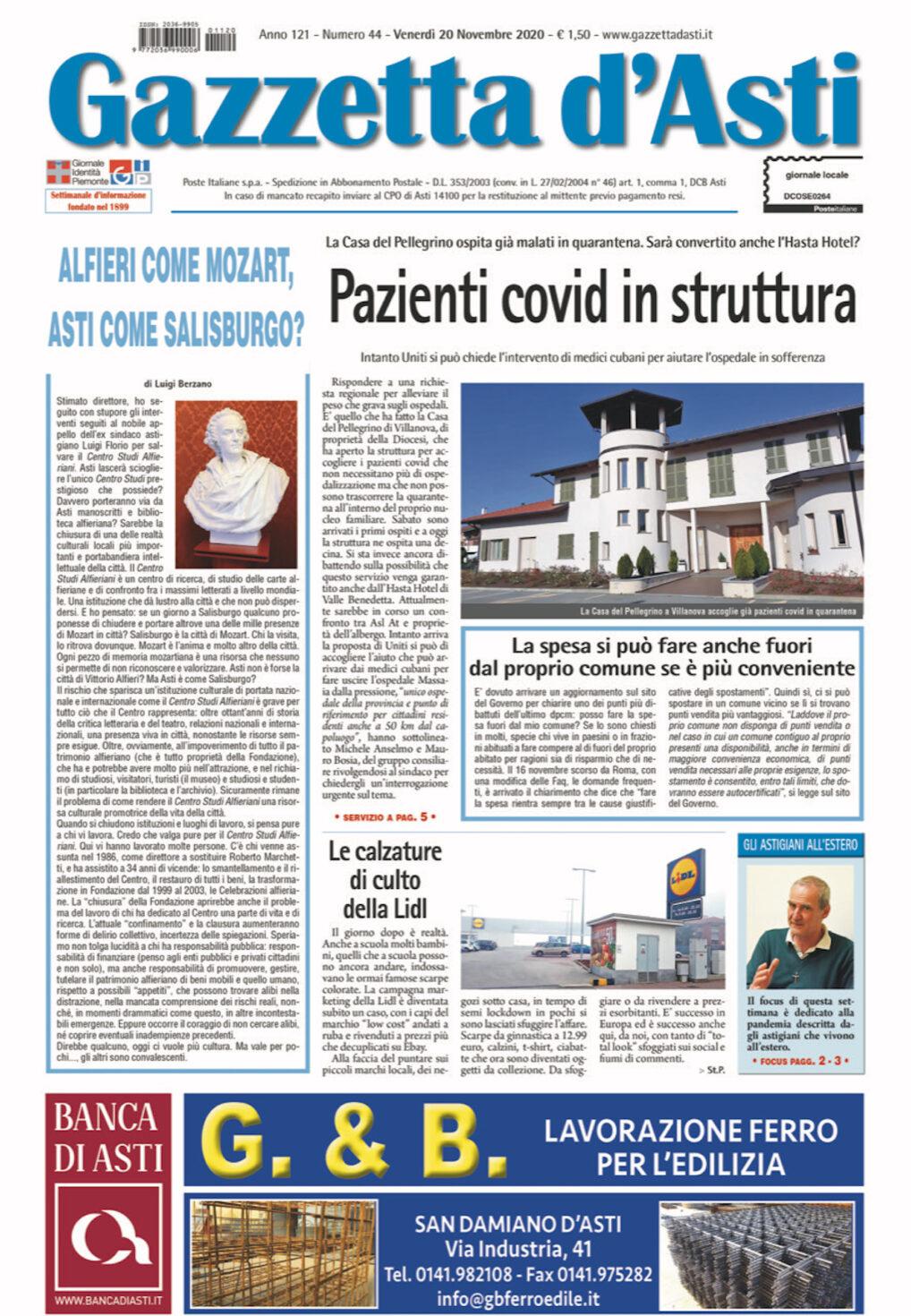 Prima pagina – 20 novembre 2020