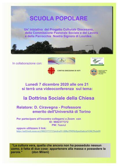 Dottrina Sociale della Chiesa: alla Scuola Popolare un incontro con il professor Ciravegna