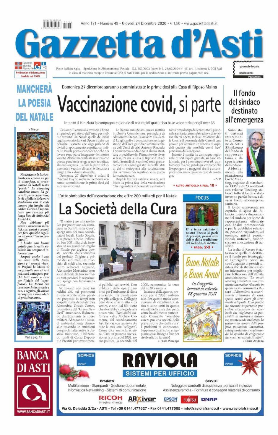 Prima pagina – 24 dicembre 2020