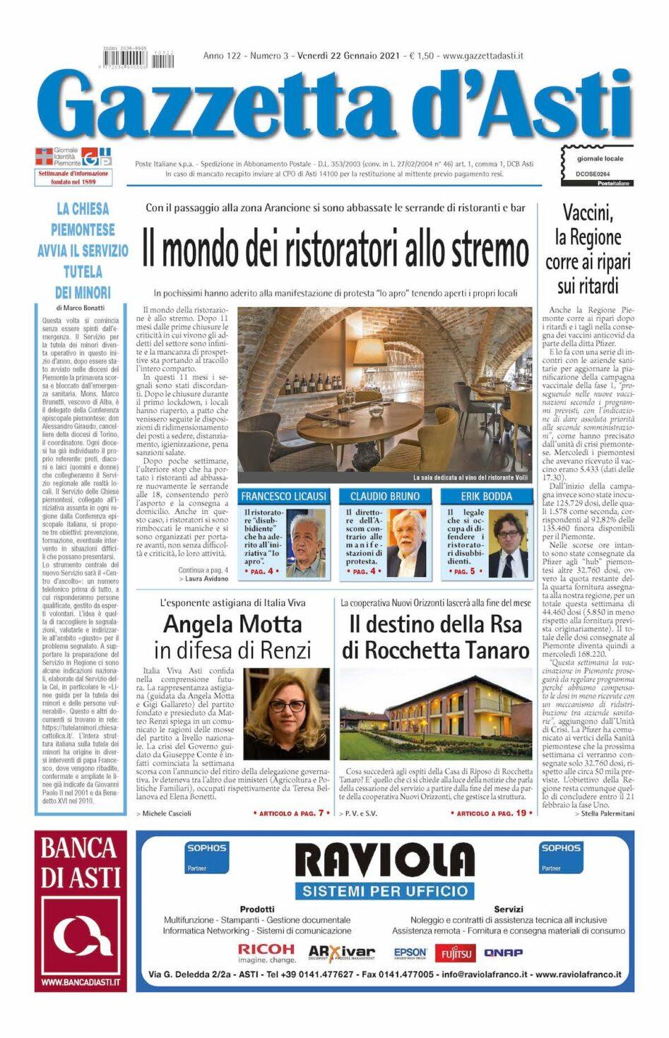 Prima pagina – 22 gennaio 2021