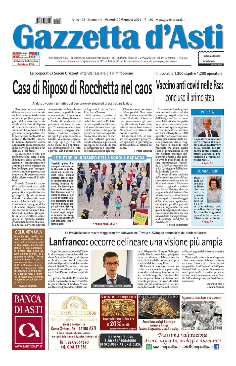 Prima pagina – 29 gennaio 2021