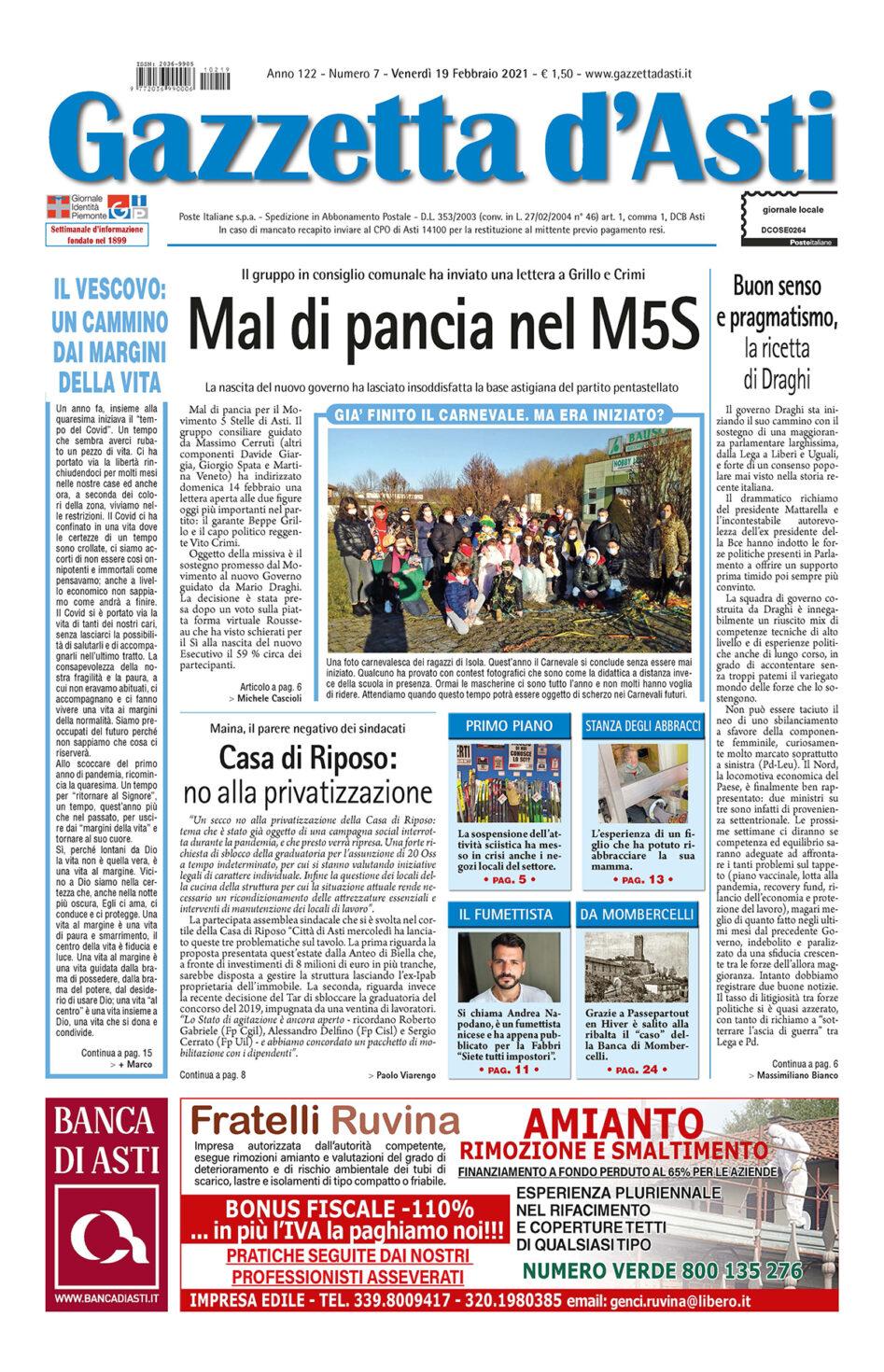 Pirma pagina – 19 febbraio 2021