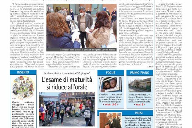 Prima pagina – 26 febbraio 2021