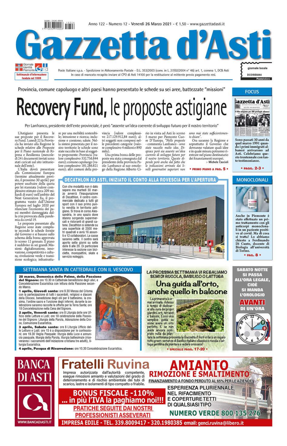 Prima pagina – 26 marzo 2021