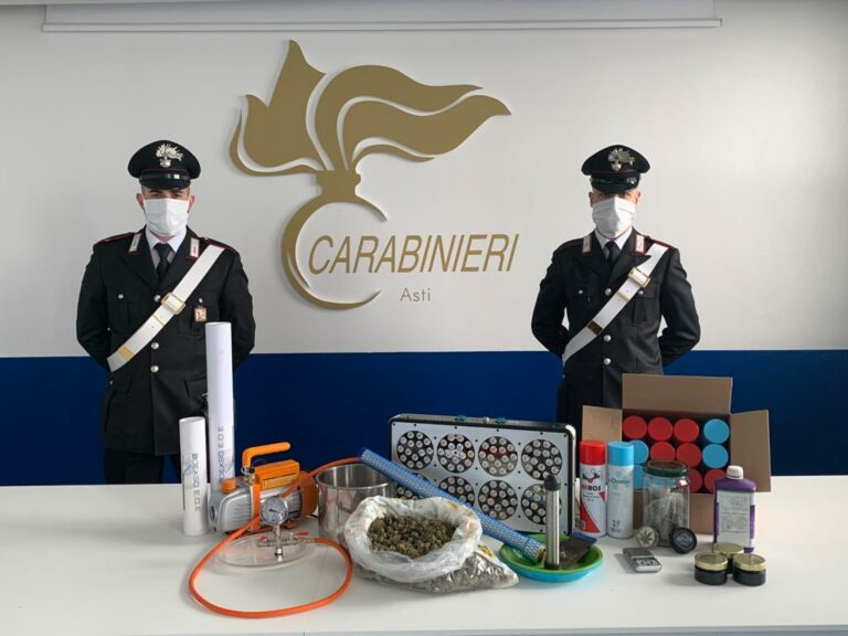 Asti, i carabinieri arrestano due persone che avevano allestito un laboratorio di trasformazione della cannabis