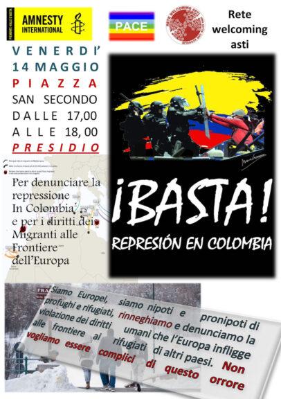 Asti, un presidio in piazza San Secondo contro la repressione in Colombia