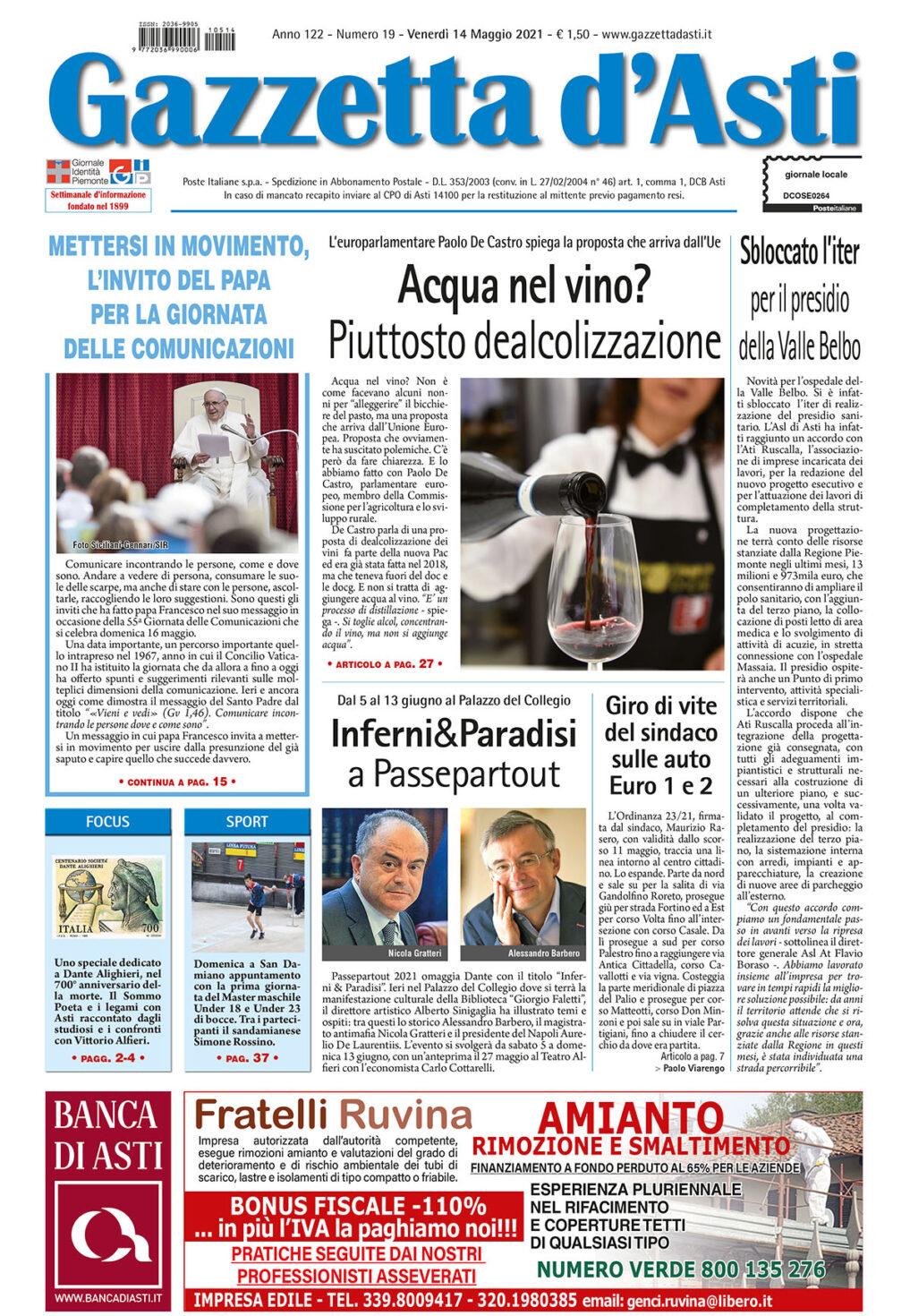Prima pagina – 14 maggio 2021