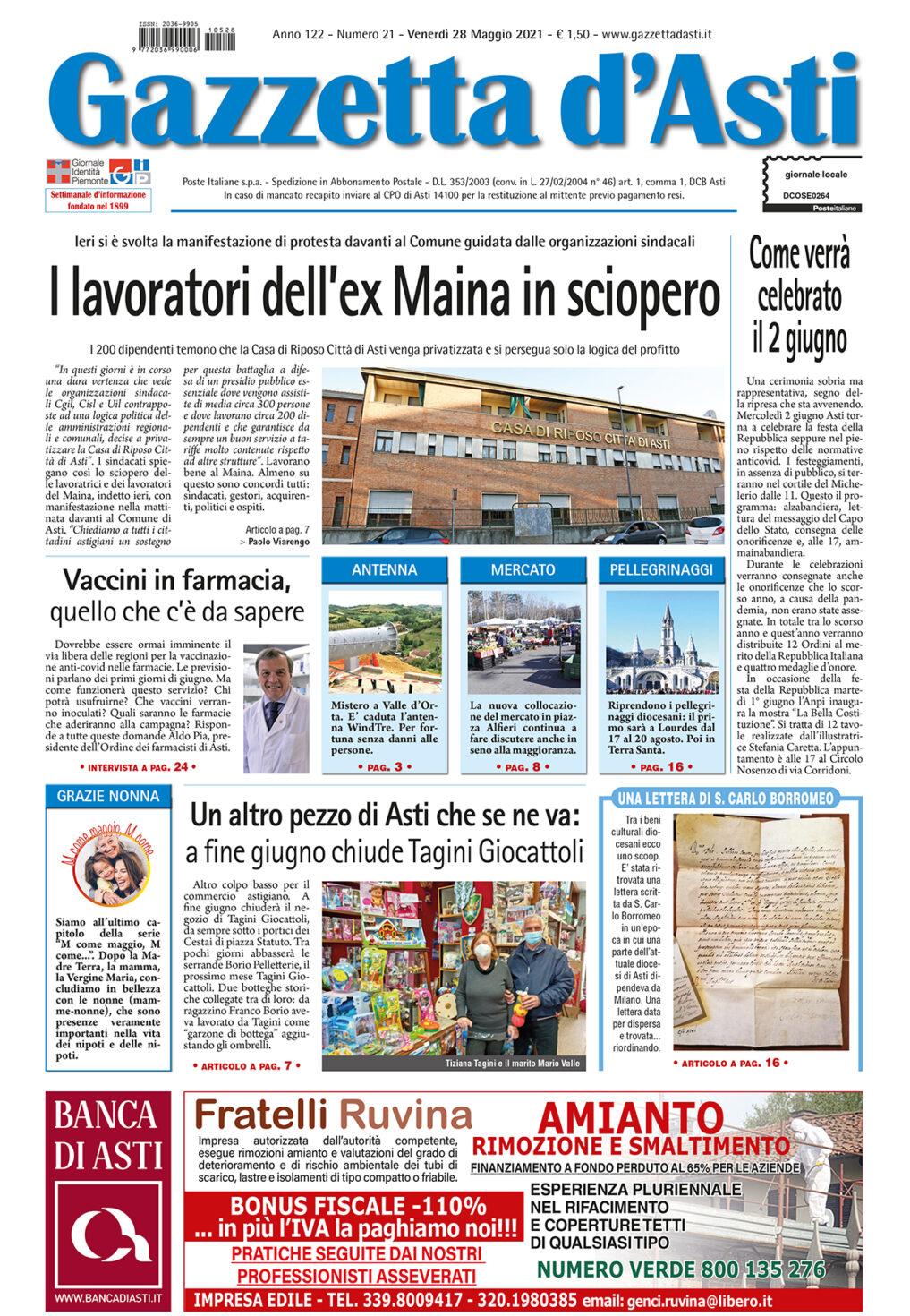 Prima pagina- 28 maggio 2021