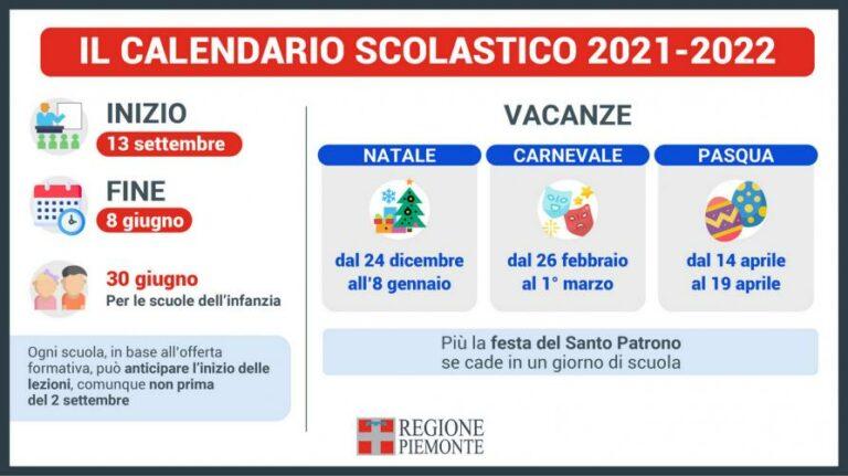 Piemonte: ecco il calendario scolastico 2021-2022