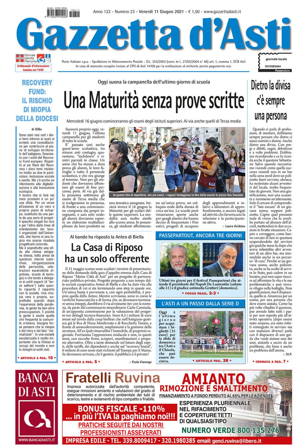 Prima pagina – 11 giugno 2021